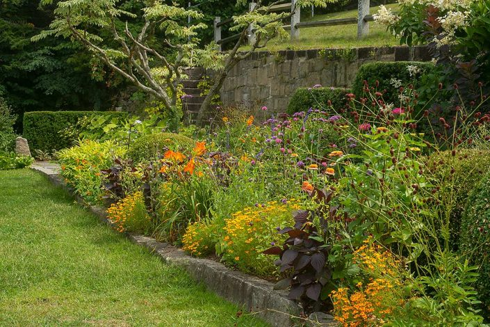 Late summer flower border garden in Peterborough, New Hampshire