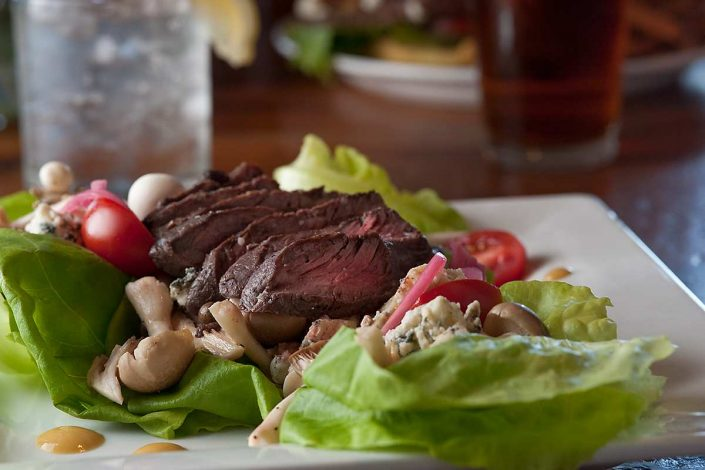 Hanger steak salad in The Tavern, Mountain Top Inn Chittenden, Vt.