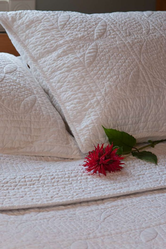White comforter and pillow set.