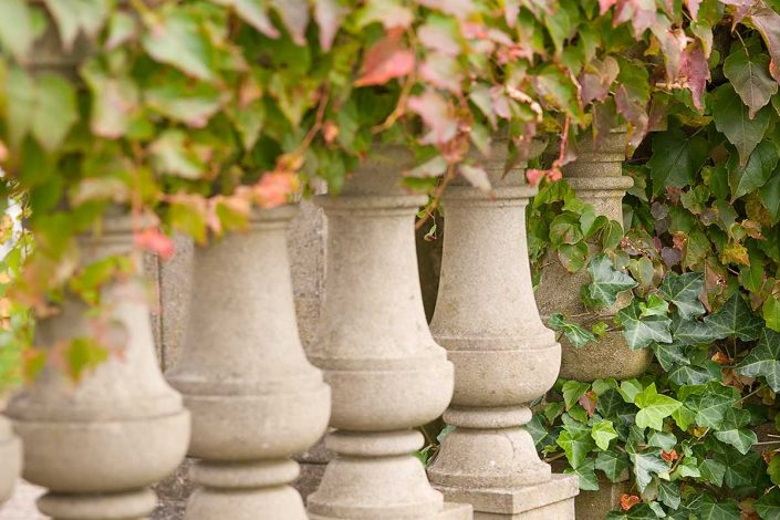 Balusters partially covered with ivy at The Breakers in Newport, RI