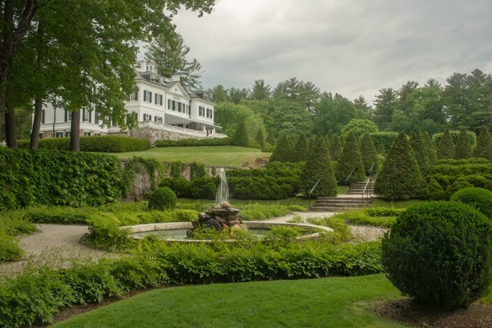 Formal garden in spring at The Mount in Lenox, MA