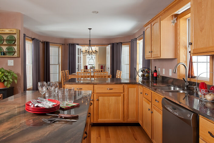 Kitchen with view to dining area and great space.