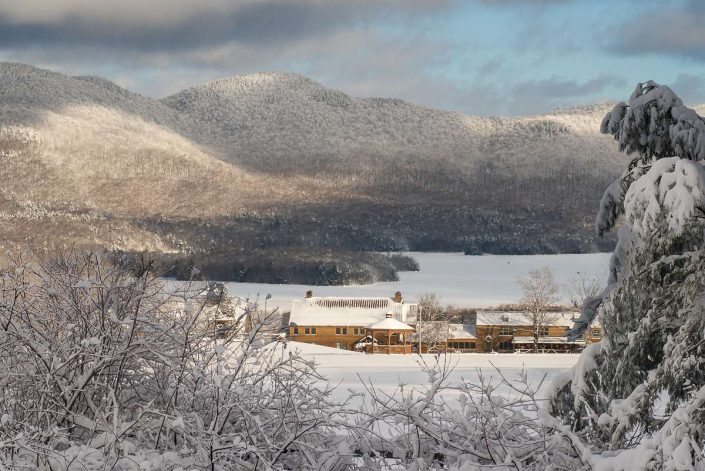 Winter view of Mountain Top Inn & Resort. Chittenden, Vt